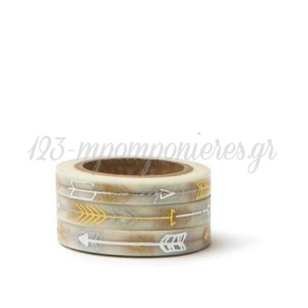 Washi Tape Χρυσα Και Ασημι Βελη -7,5Mmχ10M - ΚΩΔ:102752-Gn