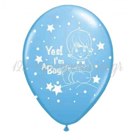 ΓΑΛΑΖΙΑ ΜΠΑΛΟΝΙΑ «Yes I'm a boy» ΜΕ ΜΩΡΟ 12'' (30cm) – ΚΩΔ.:13512324-BB