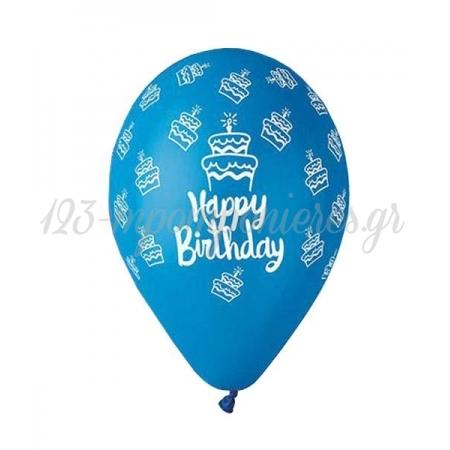 Τυπωμενα Μπαλονια Latex Μπλε «Happy Birthday» Cake 13΄΄ (33Cm) – ΚΩΔ.:13613249B-Bb