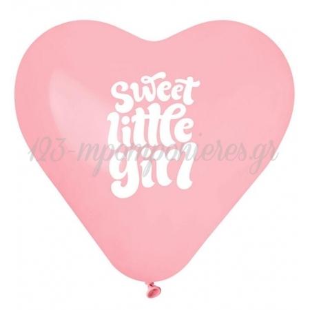ΡΟΖ ΜΠΑΛΟΝΙΑ ΣΕ ΣΧΗΜΑ ΚΑΡΔΙΑΣ «Sweet Little Girl» 17'' (43cm) – ΚΩΔ.:1361773-BB
