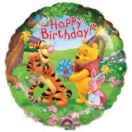ΜΠΑΛΟΝΙ FOIL ΓΕΝΕΘΛΙΩΝ «Happy Birthday» WINNIE THE POOH ΚΑΙ ΦΙΛΟΙ 45cm – ΚΩΔ.:508323-BB
