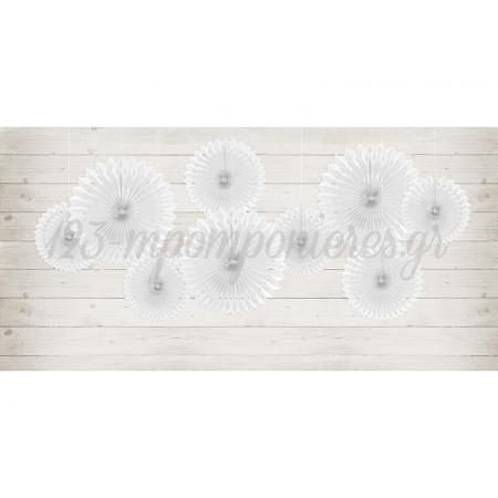 Λευκες Διακοσμητικες Χαρτινες Ροζετες - ΚΩΔ:Rpb1-008-Bb