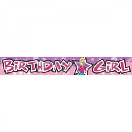 ΡΟΖ ΠΛΑΣΤΙΚΟ BANNER BIRTHDAY GIRL - ΚΩΔ:991322-BB
