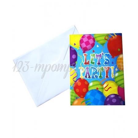 Προσκλησεις ''Let'S Party'' Με Μπαλονια - ΚΩΔ:3450110-Bb