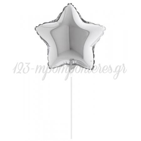 """Μπαλονι Foil 5""""(12Cm) Mini Shape Αστερι Ασημι – ΚΩΔ.:207128-Silver-Bb"""