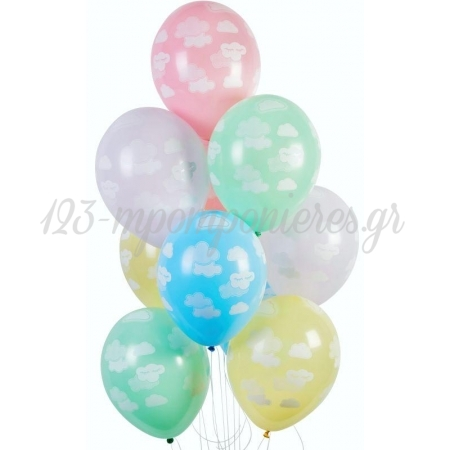 """Τυπωμενα Μπαλονια Latex Συννεφακια Σε Παστελ Χρωματα 12"""" (30Cm) – ΚΩΔ.:13613285-Bb"""