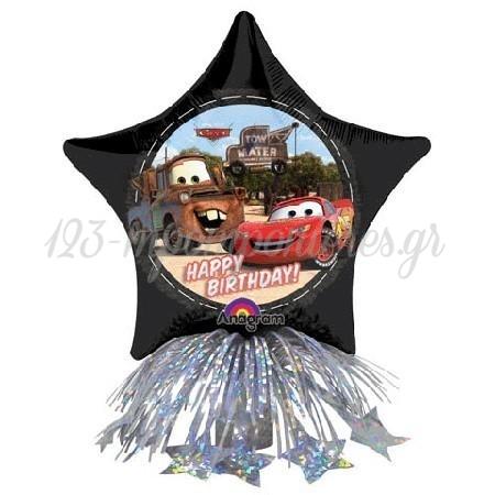 Μπαλονι Foil 35Cm Cars Disney Center Piece «Happy Birthday» Με Βαριδιο Με Κορδελες – ΚΩΔ.:16251-Bb