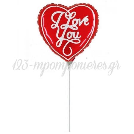 """ΜΠΑΛΟΝΙ FOIL 10""""(25cm) MINI SHAPE ΚΑΡΔΙΑ ΚΟΚΚΙΝΗ «I Love You» – ΚΩΔ.:227628h09-BB"""