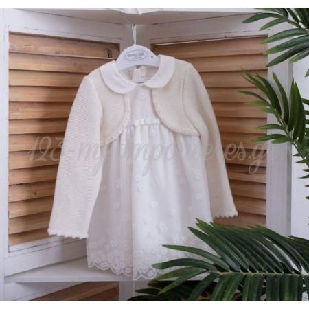 Φορεμα Mayoral Μακρυμανικο Εκρου Με Ενσωματωμενο Μπολερο - 12 Μηνων - ΚΩΔ:2823-May