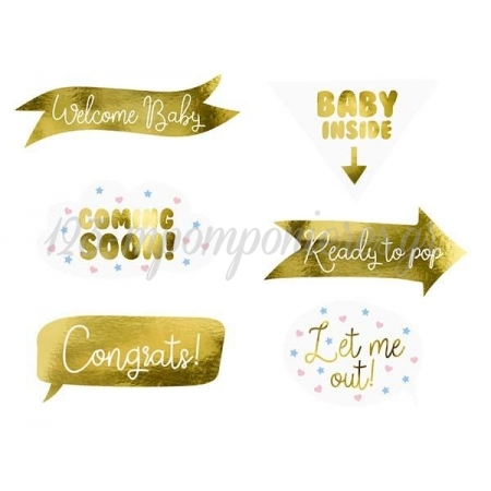 ΣΕΤ ΣΤΙΚΑΚΙΑ PHOTO BOOTH BABY SHOWER PARTY - ΚΩΔ:KNP28-BB