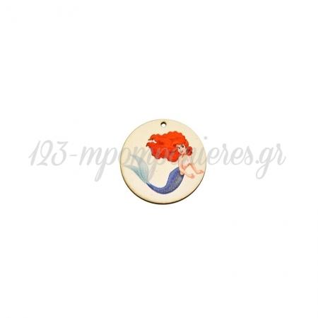 Ξύλινο Μοτίφ Στρογγυλό Γοργόνα 44mm ΚΩΔ:76460408.202-NG