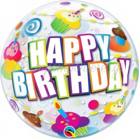 """Μπαλονι Foil 22""""(56Cm) Bubble Birthday Colorful Cupcakes - ΚΩΔ:30799-Bb"""