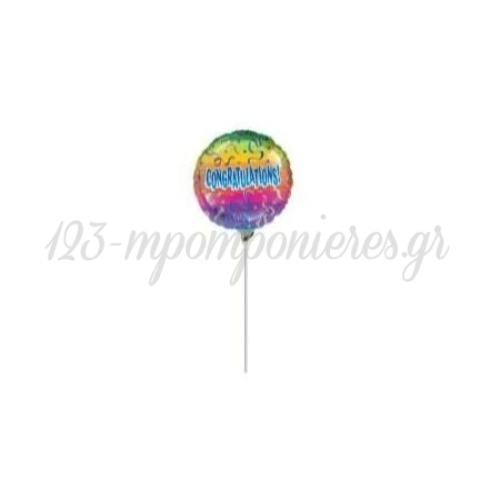 """Μπαλονι Foil 9""""(23Cm) Mini Shape Congratulations Confetti - ΚΩΔ:514267-Bb"""