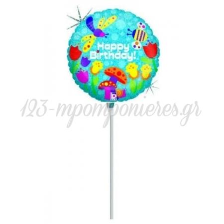 """Μπαλονι Foil 9""""(23Cm) Mini Shape Happy Birthday Πεταλουδες - ΚΩΔ:82433-1-Bb"""
