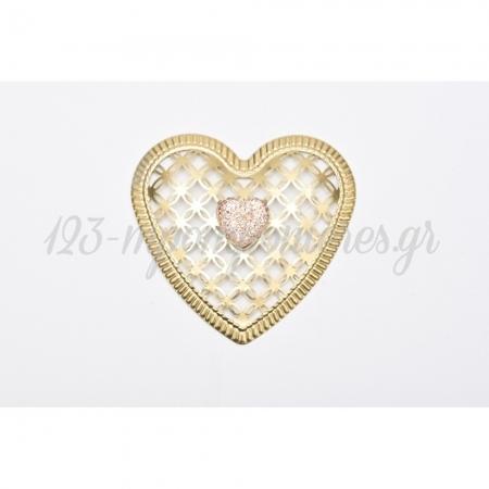 Μεταλλικη Χρυση Καρδια Με Σομον Στρας Καρδια 8X8Cm - ΚΩΔ:1510961-1319-Rd