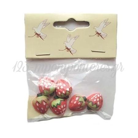 Διακοσμητικες Κεραμικες Φραουλιτσες 2Cm - ΚΩΔ:16492-Bb