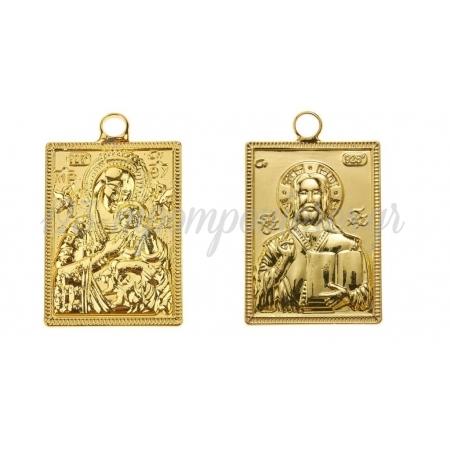 Μεταλλικο Εικονακι Παναγια-Χριστος Χρυσο 2.5Χ3.5Cm - ΚΩΔ:Nu2007-2-Nu