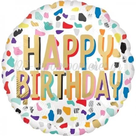 Μπαλονι Foil 18''(45Cm) Happy Birthday Confetti - ΚΩΔ:541772-Bb