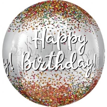 Μπαλονι Foil 16''(38Cm) Orbz Happy Birthday Confetti - ΚΩΔ:541812-Bb