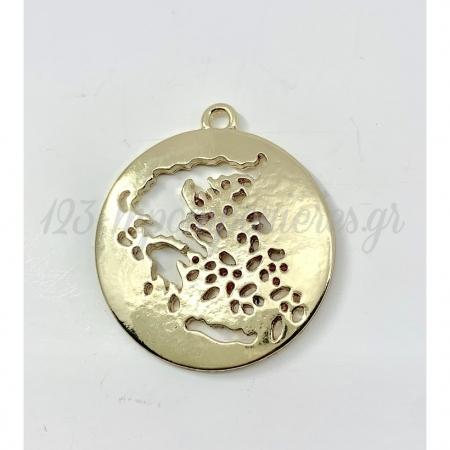 Κρεμαστος Μεταλλικος Χρυσος Χαρτης Της Ελλαδας 3Cm - ΚΩΔ:M80-Rn