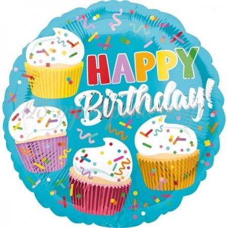 """Μπαλονι Foil 18""""(46Cm) Happy Birthday Cupcakes - ΚΩΔ:538172-Bb"""