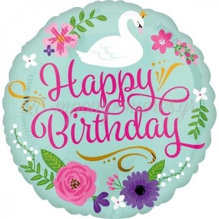 Μπαλονι Foil 18''(45Cm) Happy Birthday Φλοραλ Κυκνος - ΚΩΔ:535652-Bb