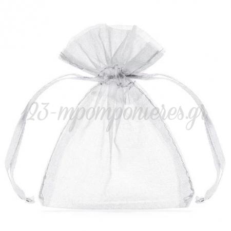 Λευκο Πουγκι Απο Οργαντζα 10X7.5Cm - ΚΩΔ:Wrg5-008-Bb