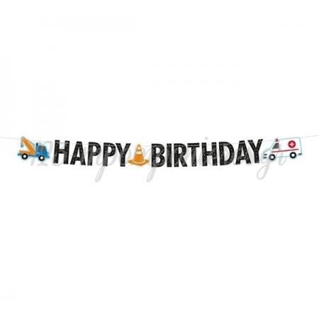 """Χαρτινο Μπανερ On The Road """"Happy Birthday"""" 180X15Cm - ΚΩΔ:9906584-Bb"""