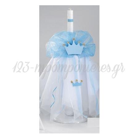 Λαμπαδα Βαπτισης Στολισμενη - Κορωνα - ΚΩΔ:Z-A-215-Kb