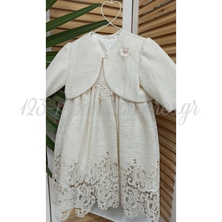 Βαπτιστικo Vintage Φορεμα Με Μπολερο Και Καπελο 18-24Μ - Σετ 3 Τμχ - ΚΩΔ:Bebe406-123