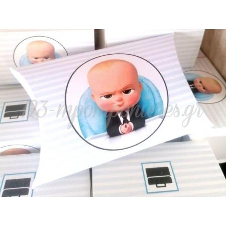 Μπομπονιερα Βαφτισης Εκτυπωμενο Κουτακι Σε Σχημα Μαξιλαρακι - Baby Boss - ΚΩΔ:Alg-0409-M