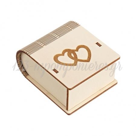 Ξύλινο Κουτί με Χάραγμα Καρδιές 8X4.5X10cm - ΚΩΔ:M10434-AD