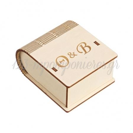 Ξύλινο Κουτί με Μονογράμματα 8X4.5X10cm - ΚΩΔ:M10432-AD