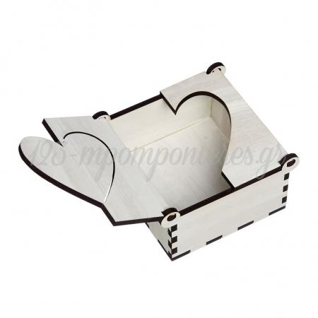 Ξύλινο Κουτί με Καρδιά 9.5X9.5X3cm - ΚΩΔ:M10435-AD