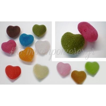 Χαντρες Καρδιες Βελουδινες 2.5X2.6Cm - ΚΩΔ: 517129