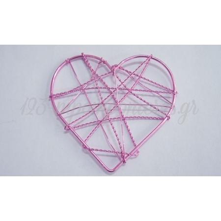 Μεταλλικες Καρδιες Συρματινες Ροζ 8Cm - ΚΩΔ: 552013