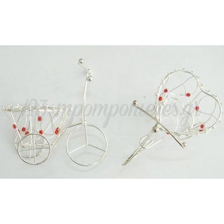 Μεταλλικο Ποδηλατο Μικρο Με Κοκκινη Χαντρα 10X9X6.5Cm - ΚΩΔ.: 517321
