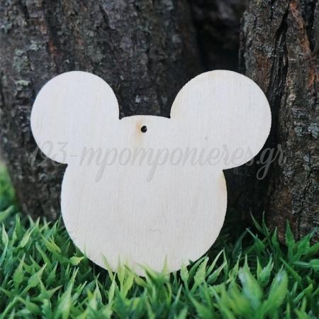 Ξυλινο Διακοσμητικο Κεφαλι Mickey Με Τρυπα - 6,5 Χ 8 Εκατ. - ΚΩΔ:4624-Mc