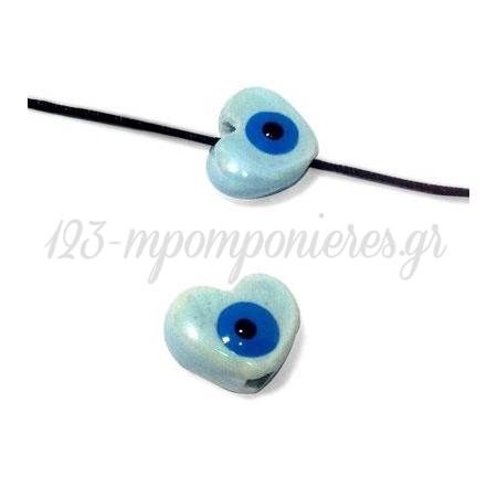 Κεραμική Χάντρα Καρδιά Μάτι Περαστό με Σμάλτο 13x10mm (Ø3mm) - ΚΩΔ:A982-NG