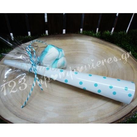 Μπομπονιέρα Βάπτισης Βαβουζέλες σε 3 σχέδια - Σιέλ - Κωδ:MPO-04998