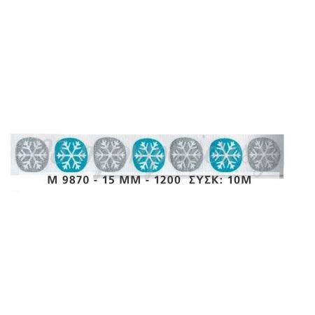 ΚΟΡΔΕΛΑ ΧΡΙΣΤΟΥΓΕΝΝΙΑΤΙΚΗ ΜΕ ΧΙΟΝΟΝΙΦΑΔΕΣ 1,5cm x 10μ - ΚΩΔ:M9870-AD