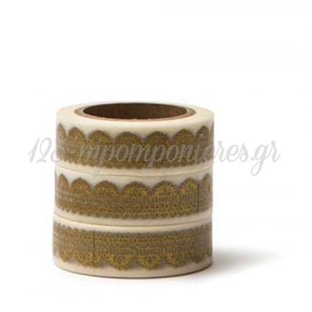 Washi Tape Λευκο Με Χρυση Δαντελα -15Mmχ10M - ΚΩΔ:102727-Gn