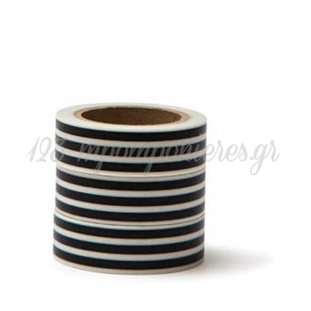 Washi Tape Ασπρο Μαυρο Ριγε -15Mmχ10M - ΚΩΔ:102744-Gn