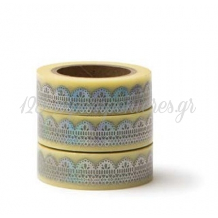 WASHI TAPE ΑΣΗΜΙ ΜΕΤΑΛΛΙΖΕ ΔΑΝΤΕΛΑ -15MMΧ10M - ΚΩΔ:102748-GN
