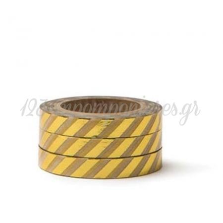 Washi Tape Χρυσες Ριγες -7,5Mmχ10M - ΚΩΔ:102756-Gn